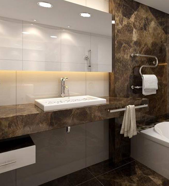 Kamniti bel umivalnik za kopalnico