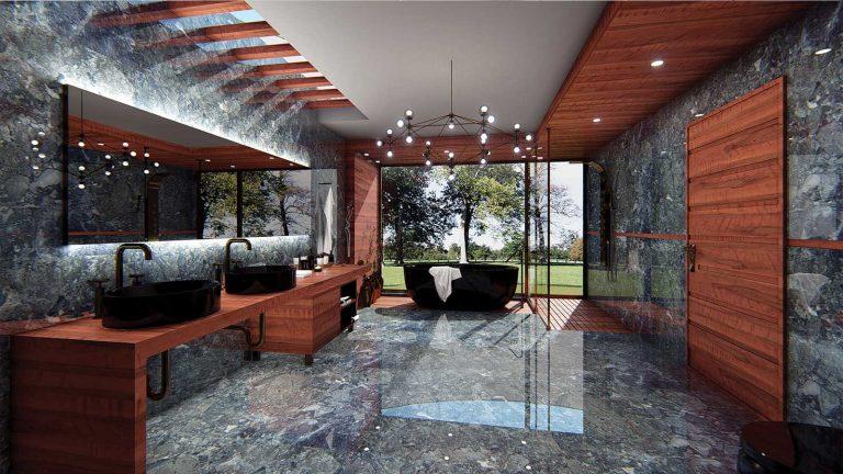Svetleča Marmorna moderna kopalnica